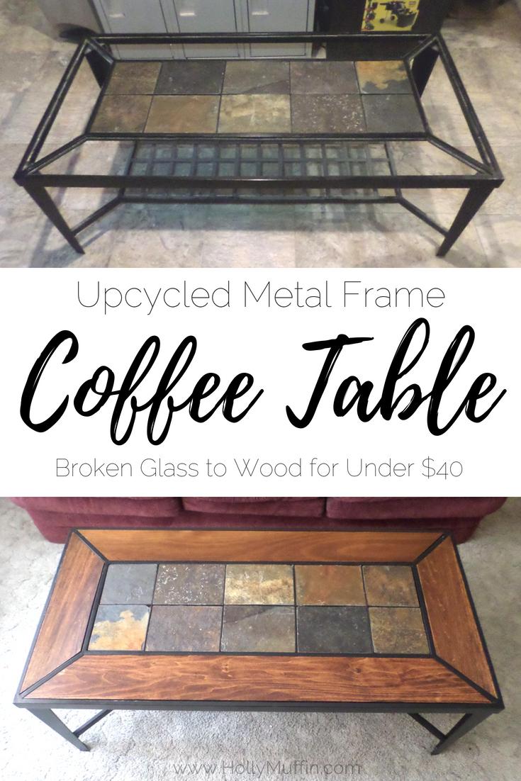 upcycled metal frame coffee table